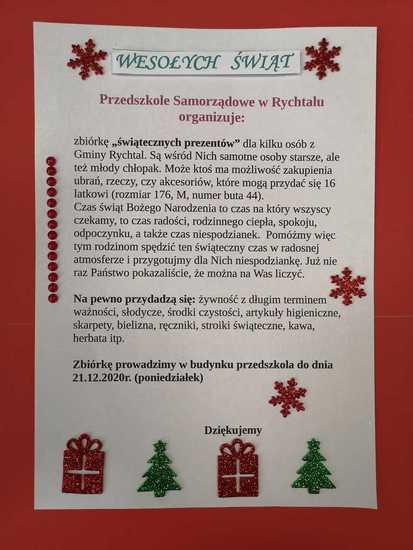 Galeria Przedszkole Samorządowe w Rychtalu organizuje zbiórkę świątecznych prezentów